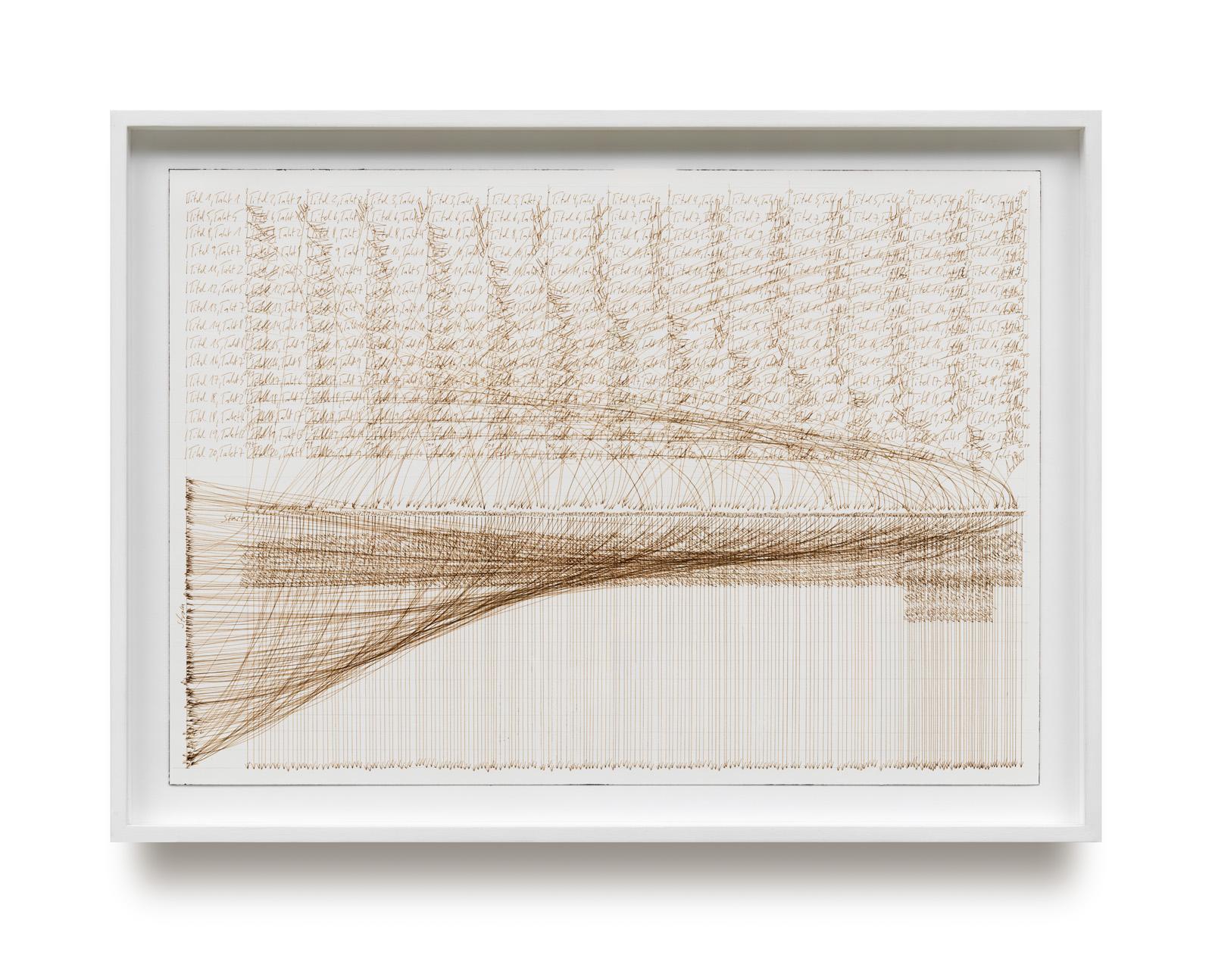 Jorinde Voigt, top 20 Popsongs, 210 Adler, 210 BMWs, Strom, 2006, Tinte auf Papier, 36 x 51 cm, gerahmt 02.04.20_1882