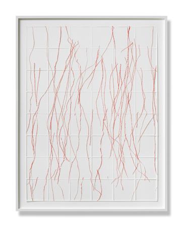 Katharina Hinsberg, Gitter Linien 3,  Farbstift auf Papier, ausgeschnitten 120 x 90,i